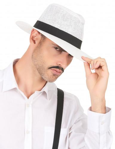 Witte panamahoed met zwarte band voor volwassenen-2