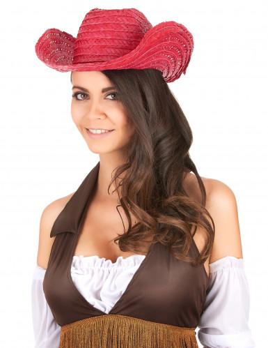 Rood cowboy hoed voor volwassenen-1
