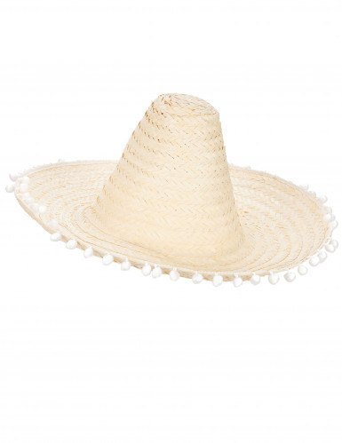 Sombrero met pompon rand voor volwassenen