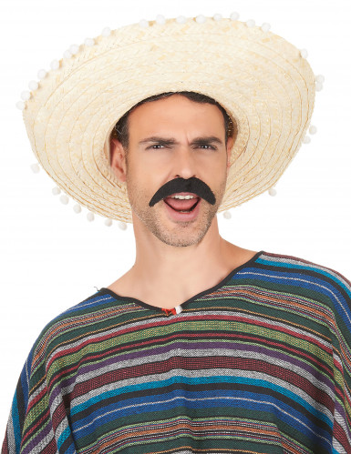 Sombrero met pompon rand voor volwassenen-1