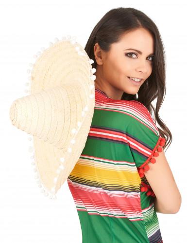 Sombrero met pompon rand voor volwassenen-2
