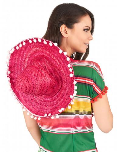 Roze sombrero hoed voor volwassenen-2