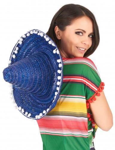 Blauw sombrero hoed met pompons voor volwassenen-2