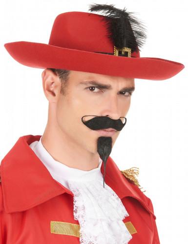 Rode musketier hoed met veer voor volwassenen