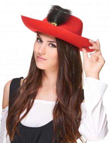 Rode musketier hoed met veer voor volwassenen-1