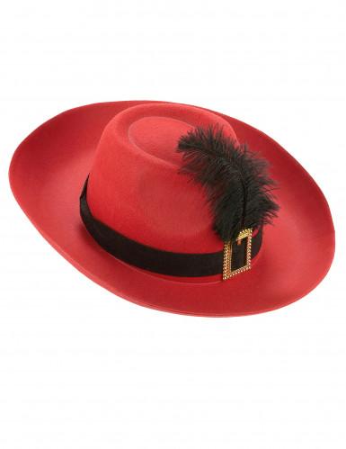 Rode musketier hoed met veer voor volwassenen-2