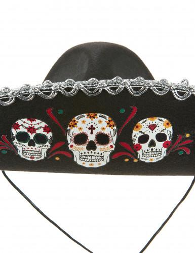 Zwarte Dia de los Muertos sombrero hoed -1