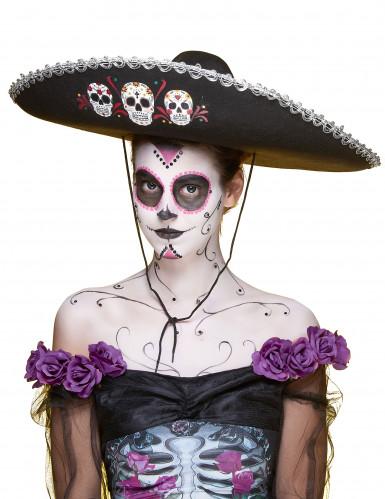 Zwarte Dia de los Muertos sombrero hoed -3