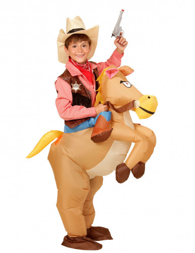 Opblaasbaar western paard kostuum voor kinderen