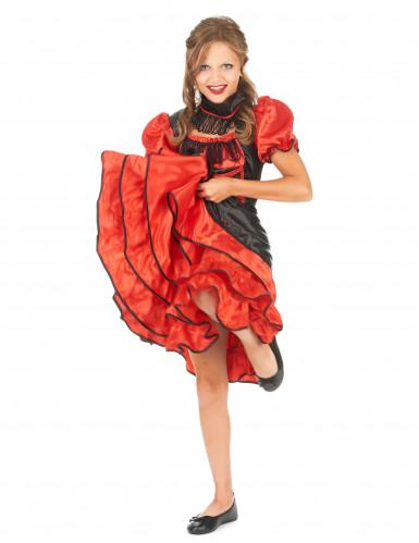 Rood en zwart cabaret kostuum voor meisjes