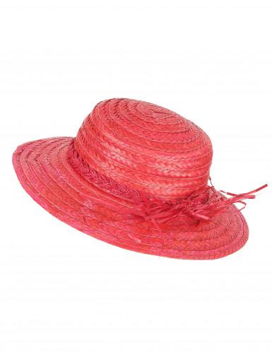 Rode vintage strohoed voor vrouwen