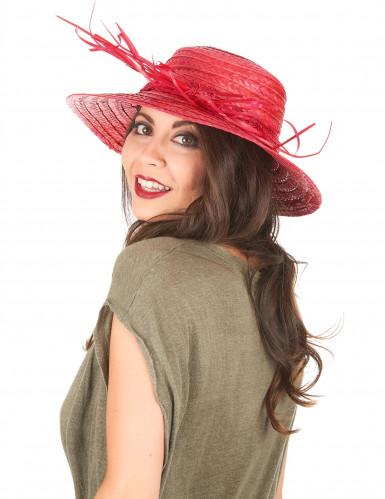 Rode vintage strohoed voor vrouwen-1