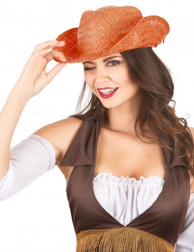 Oranje stro westernhoed voor volwassenen-1