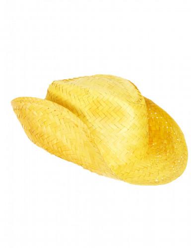 Gele stro westernhoed voor volwassenen