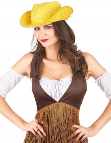 Gele stro westernhoed voor volwassenen-1
