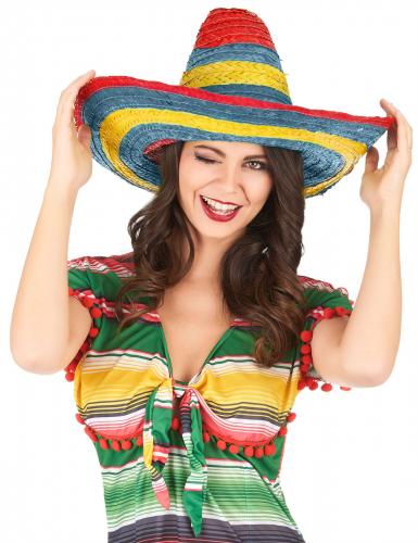 Rood groen gele Mexicaanse sombrero voor volwassenen-1