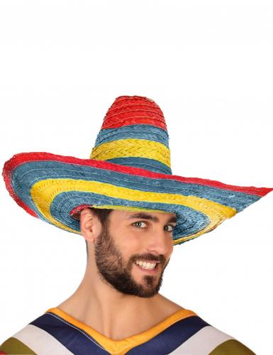 Rood groen gele Mexicaanse sombrero voor volwassenen-2