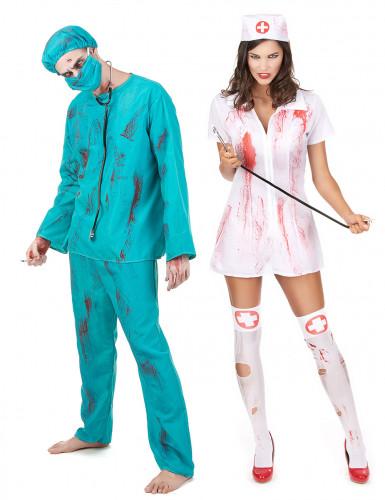 Zombie chirurg en verpleegster koppel kostuum