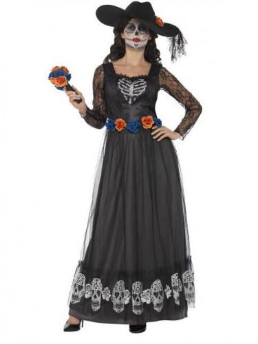 Zwart Día de los Muertos bruidskostuum voor vrouwen