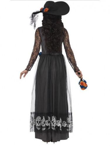 Zwart Día de los Muertos bruidskostuum voor vrouwen-1