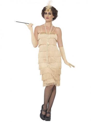 Beige charleston kostuum voor vrouwen