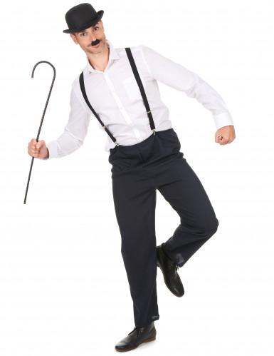Gegroefde zwarte wandelstok voor volwassenen-1