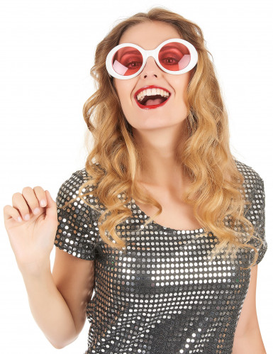 Ronde witte plastic bril voor volwassenen-1