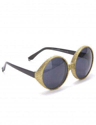 Ronde goudkleurige glitterbril voor volwassenen