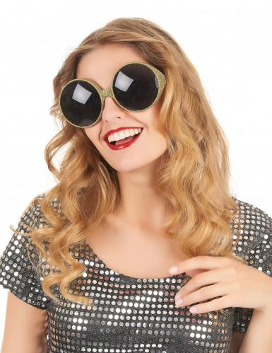 Ronde goudkleurige glitterbril voor volwassenen-1