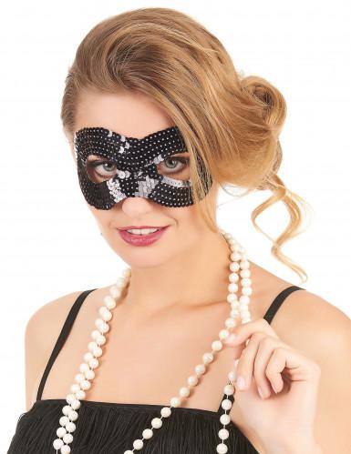 Masker met zwarte lovertjes voor volwassenen
