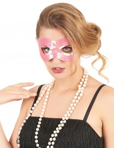 Masker met roze lovertjes voor volwassenen