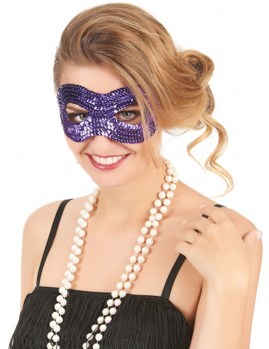 Paars masker met lovertjes voor volwassenen