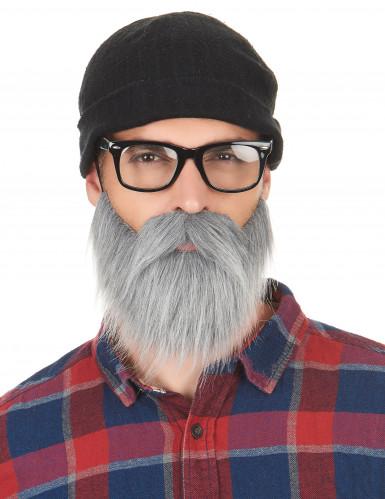 Grijze snor en baard voor volwassenen-1