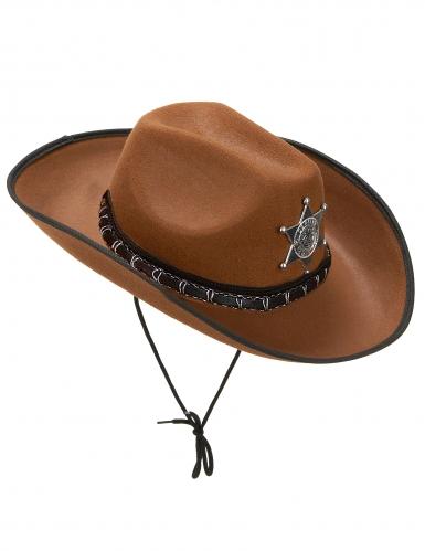 Lichtbruine sheriff hoed voor volwassenen
