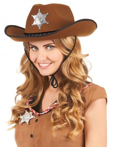 Lichtbruine sheriff hoed voor volwassenen-1