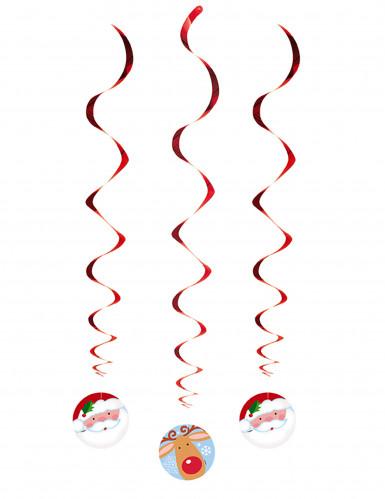 3 kerst hangdecoraties kerstman en rendier-1