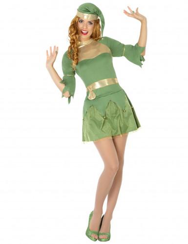 Groen kerstelf kostuum voor vrouwen