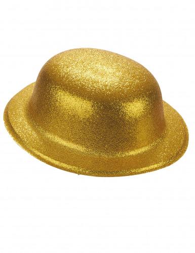 Goudkleurige glitter bolhoed voor volwassenen