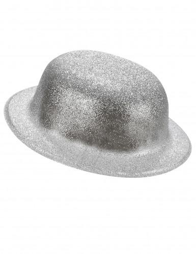 Zilverkleurige glitter bolhoed voor volwassenen