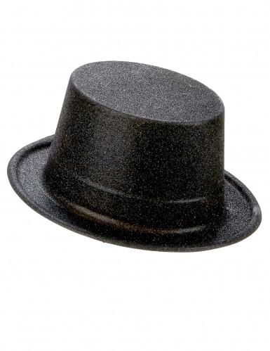 Zwarte glitter hoge hoed voor volwassenen