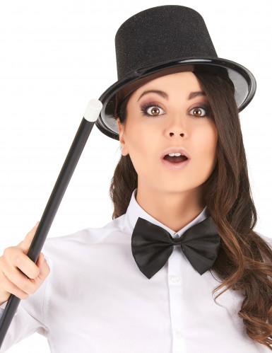Zwarte glitter hoge hoed voor volwassenen-1