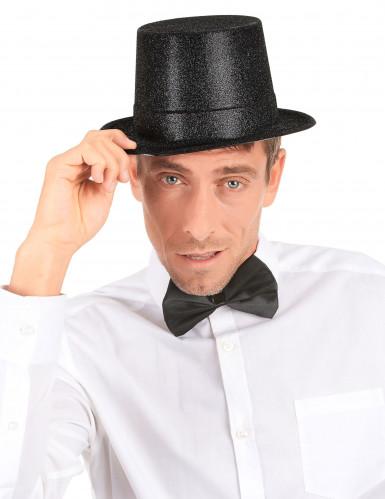 Zwarte glitter hoge hoed voor volwassenen-2