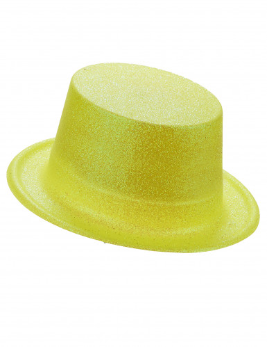 Gele hoge bolhoed met pailletten voor volwassenen