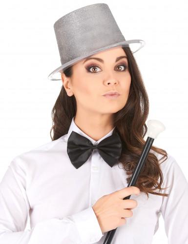 Zilverkleurige glitter hoge hoed voor volwassenen-1