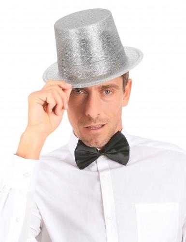 Zilverkleurige glitter hoge hoed voor volwassenen-2
