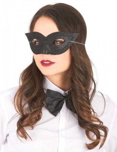Zwart Venetiaans masker met glitters voor volwassenen