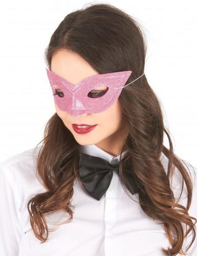 Roze Venetiaans oogmasker met pailletten voor volwassenen