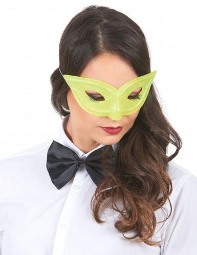 Geel Venetiaans masker met glitters voor volwassenen