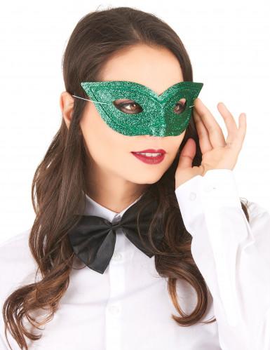 Groen Venetiaans masker met pailletten voor volwassenen