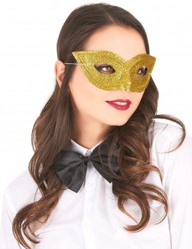 Goudkleurig Venetiaans masker met pailletten voor volwassenen